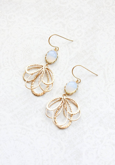 Gold Loop Earrings - Opal Glass