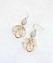 Load image into Gallery viewer, Gold Loop Earrings - Seafoam Mint