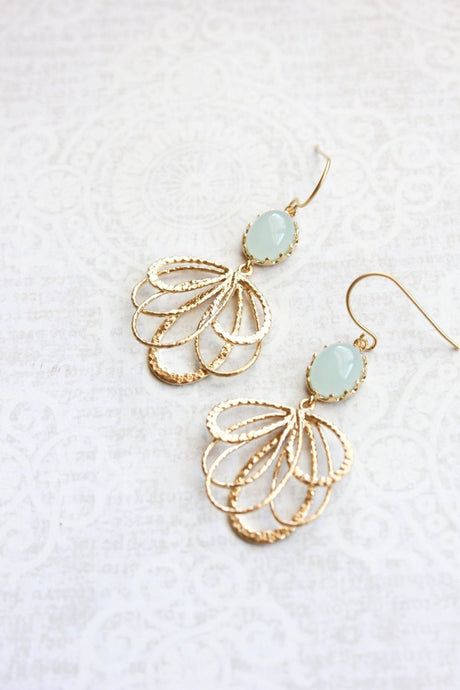 Gold Loop Earrings - Seafoam Mint