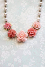 Load image into Gallery viewer, Coral and Pink Rose Necklace