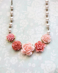 Coral and Pink Rose Necklace