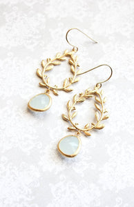 Gold Laurel Wreath Earrings - Alice Blue