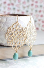 Load image into Gallery viewer, Silver Filigree Earrings - Teal