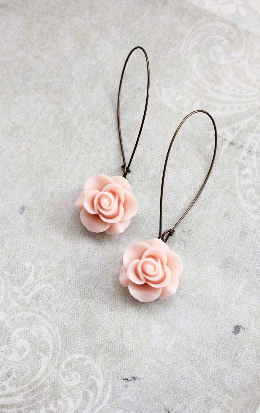 Light Pink Rose Earrings