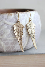 Load image into Gallery viewer, Gold Fern Leaf Earrings