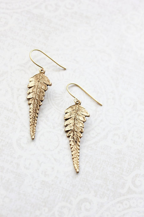 Gold Fern Leaf Earrings
