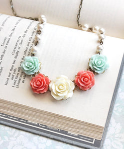 Coral and Mint Floral Necklace