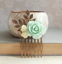 Load image into Gallery viewer, Mint and Ivory Rose Comb - C1048
