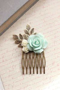 Mint and Ivory Rose Comb - C1048