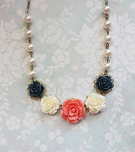 Load image into Gallery viewer, Coral and Navy Rose Necklace
