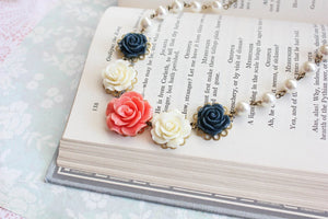 Coral and Navy Rose Necklace