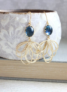 Gold Loop Earrings - Dark Blue