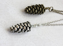 Load image into Gallery viewer, Big Silver Pine Cone Necklace