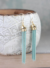 Load image into Gallery viewer, Chain Tassel Earrings - Aqua Mint
