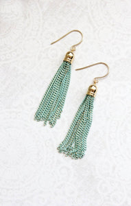 Chain Tassel Earrings - Aqua Mint