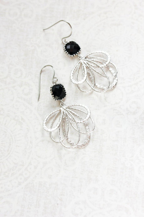 Silver Loop Earrings - Black