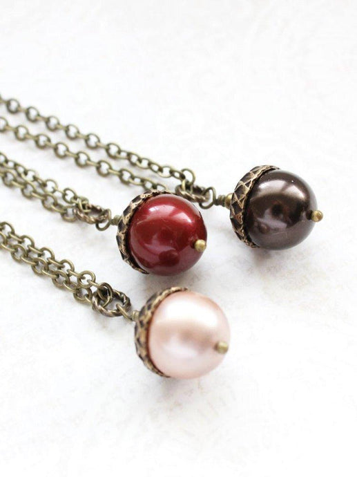 Pearl Acorn Necklace (16 Colors)