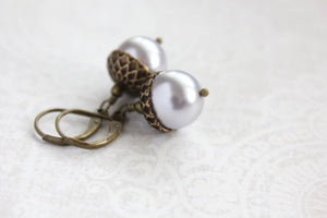 Pearl Acorn Earrings - Light Mauve