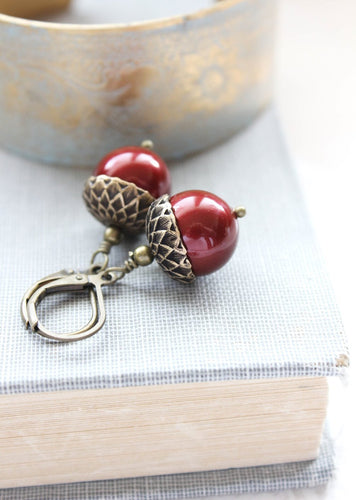 Cranberry Red Acorn Earrings