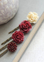 Load image into Gallery viewer, Deep Red Rose Bobby Pins - BP1210