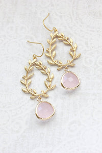 Laurel Wreath Earrings - Pink