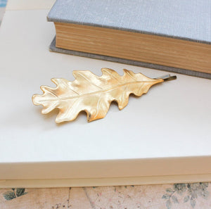 Raw Gold Brass Oak Leaf Bobby Pin