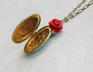 Aqua Patina Locket - Red Rose Charm