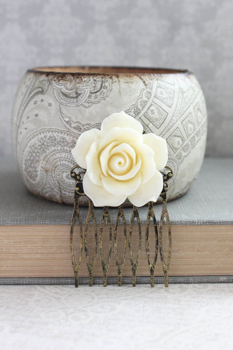 Ivory Cream Rose Comb - C1065