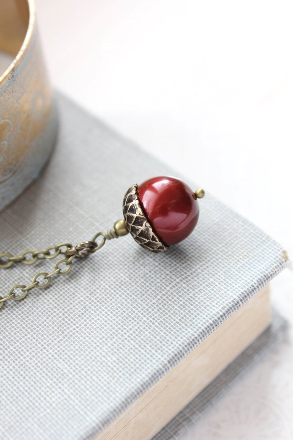 Red Pearl Acorn Necklace