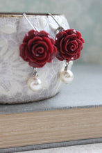 Load image into Gallery viewer, Deep Red Rose Earrings