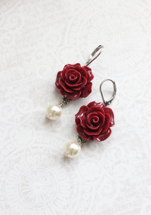Deep Red Rose Earrings