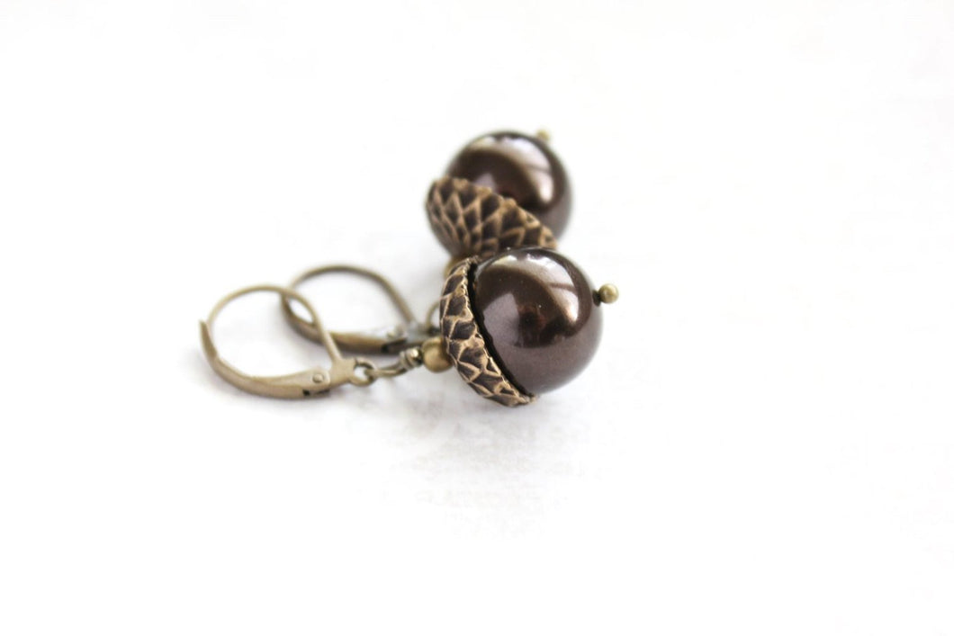 Pearl Acorn Earrings -Brown