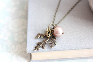Acorn Necklace - Almond Blush