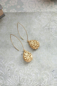 Long Filigree Teardrop Earrings