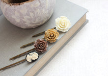 Load image into Gallery viewer, Brown Rose Bobby Pins - BP1022