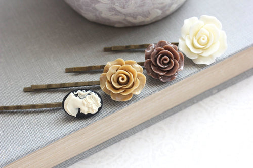 Brown Rose Bobby Pins - BP1022