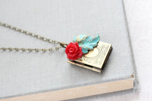 Book Locket - Red Rose