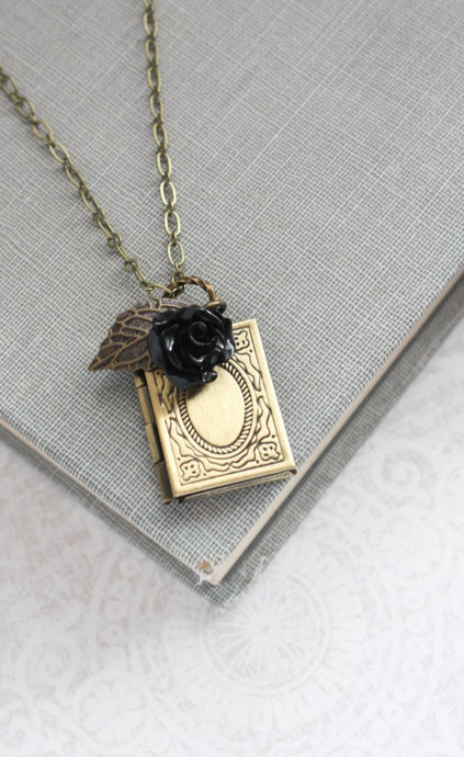 Book Locket - Black Rose