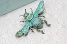 Load image into Gallery viewer, Bee Brooch - Verdigris Patina