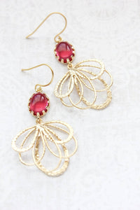 Gold Loop Earrings - Cherry Red