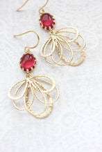 Load image into Gallery viewer, Gold Loop Earrings - Cherry Red