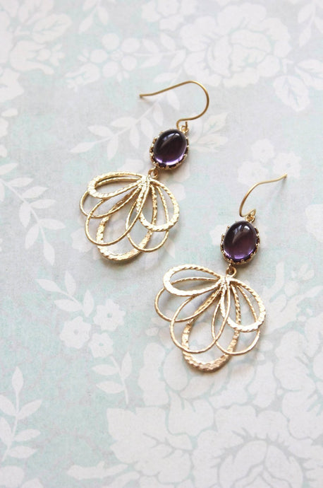 Gold Loop Earrings - Purple