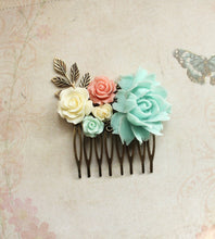Load image into Gallery viewer, Aqua Rose Floral Comb - C1001