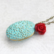 Load image into Gallery viewer, Aqua Patina Locket - Red Rose Charm