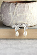 Load image into Gallery viewer, Silver Orchid Earrings - White Pearl