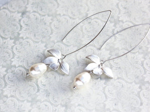 Silver Orchid Earrings - White Pearl