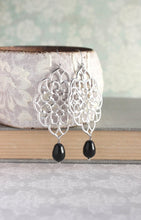 Load image into Gallery viewer, Silver Filigree Earrings - Black Pearl