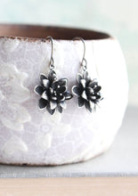 Load image into Gallery viewer, Lotus Flower Earrings - Antiqued Silver