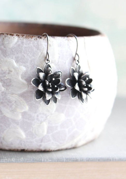 Lotus Flower Earrings - Antiqued Silver