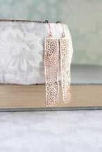 Load image into Gallery viewer, Long Bar Filigree Earrings - Rose Gold